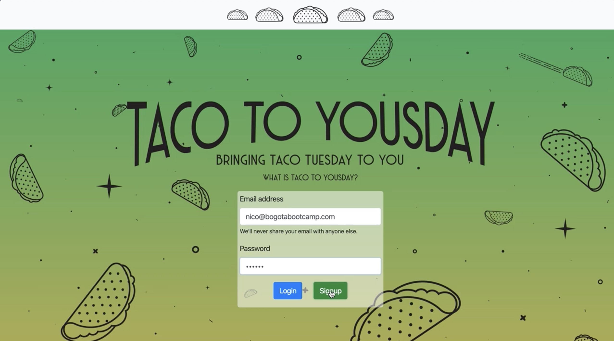 Taco to Yousday application